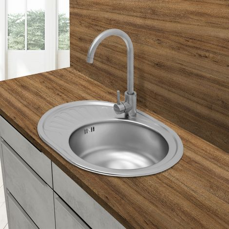 Évier de cuisine lavabo encastré acier inoxydable vasque bassin droite 58x45 cm