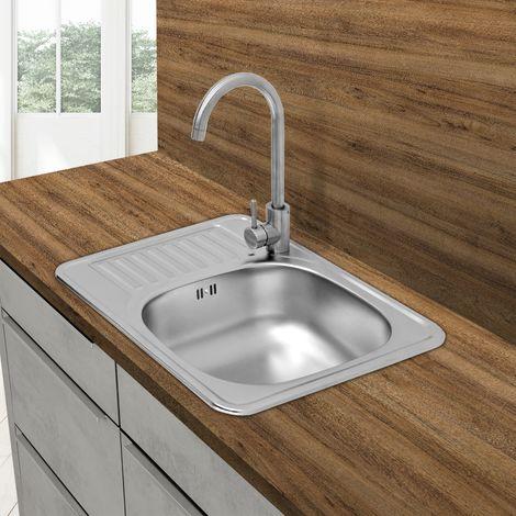 Évier de cuisine lavabo encastré acier inoxydable vasque bassin droite 58x48 cm