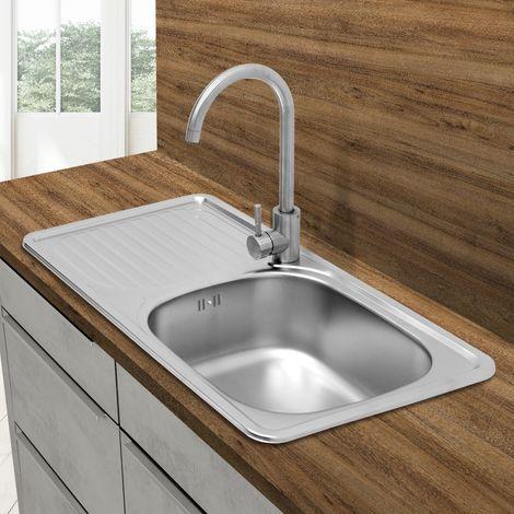 Évier de cuisine lavabo encastré acier inoxydable vasque bassin droite 76x42,5cm