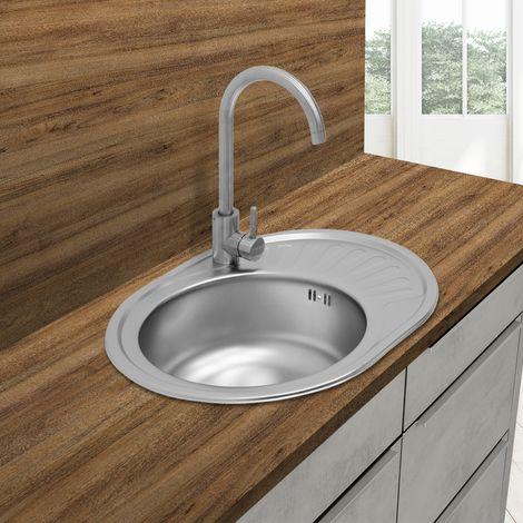 Évier de cuisine lavabo encastré acier inoxydable vasque bassin gauche 58x45 cm
