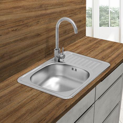 Évier de cuisine lavabo encastré acier inoxydable vasque bassin gauche 58x48 cm