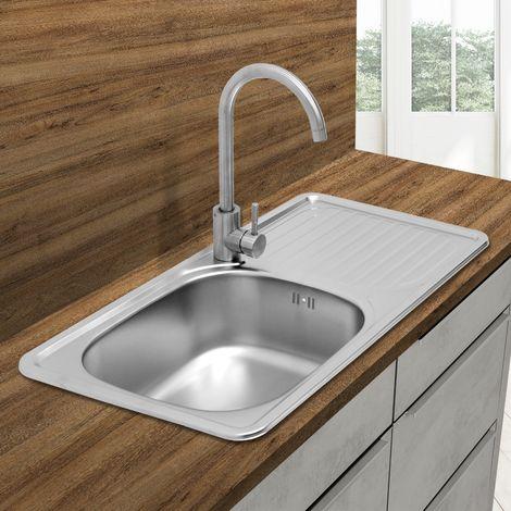 Évier de cuisine lavabo encastré acier inoxydable vasque bassin gauche 76x42,5cm