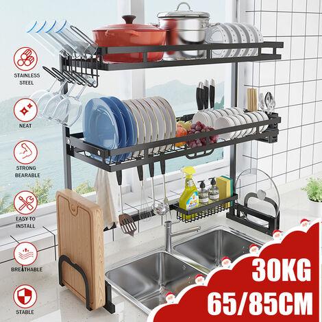 évier en acier inoxydable égouttoir étagère de cuisine plat couverts support de séchage 85cm double couche 85cm double couche