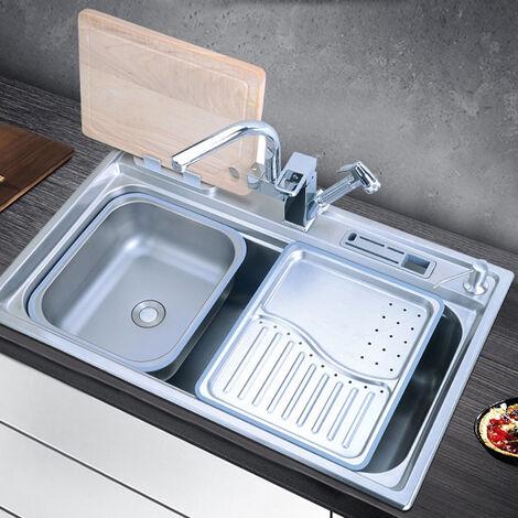 Evier en inox avec panier-égouttoirs, plateau & distributeur de savon - 78 x 48 cm