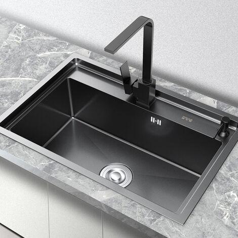 Evier en inox noir à encastrer avec un égouttoir & distributeur de savon