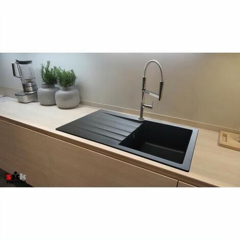 Evier ESSEBAGNO Evier cuisine a encastrer 1 grand bac + 1 égouttoir Sierra - Résine - 100 x 50 x 21 cm - Noir