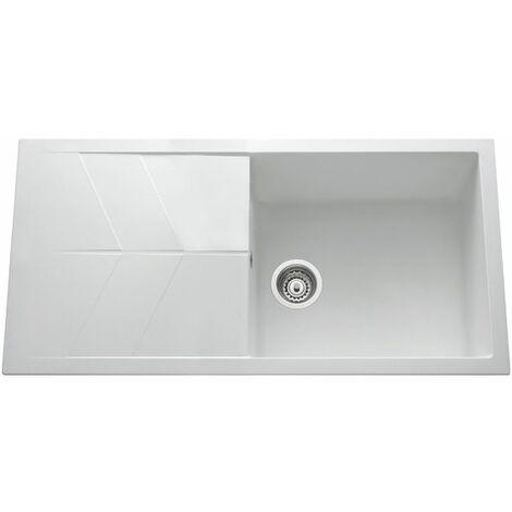 Évier granit blanc Ewi NOVA 1 grand bac 1 égouttoir