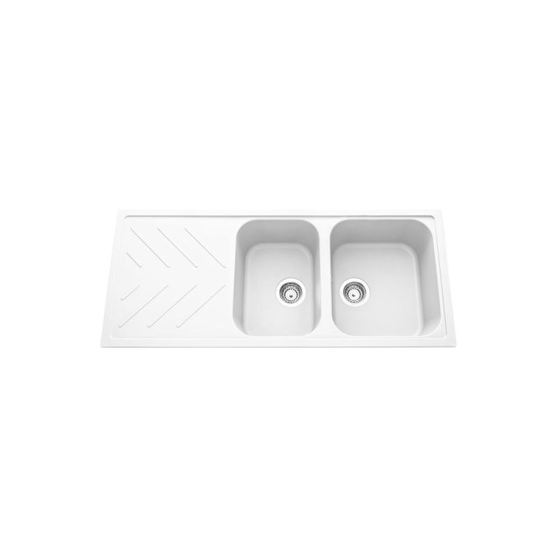 Évier granit blanc ARPEGE 2 bacs 1 égouttoir - Luisina