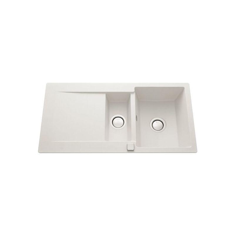 Évier granit blanc EPURE 1 bac 1/2 - 1 égouttoir - Luisina
