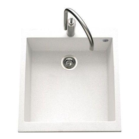 Évier granit blanc Luisina QUADRILLE 1 bac 410x500
