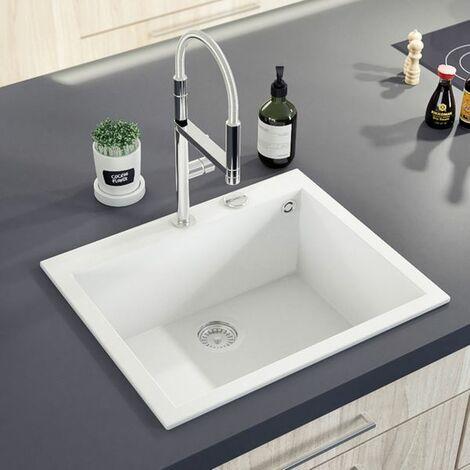 Évier granit blanc Luisina QUADRILLE 1 bac 610x500