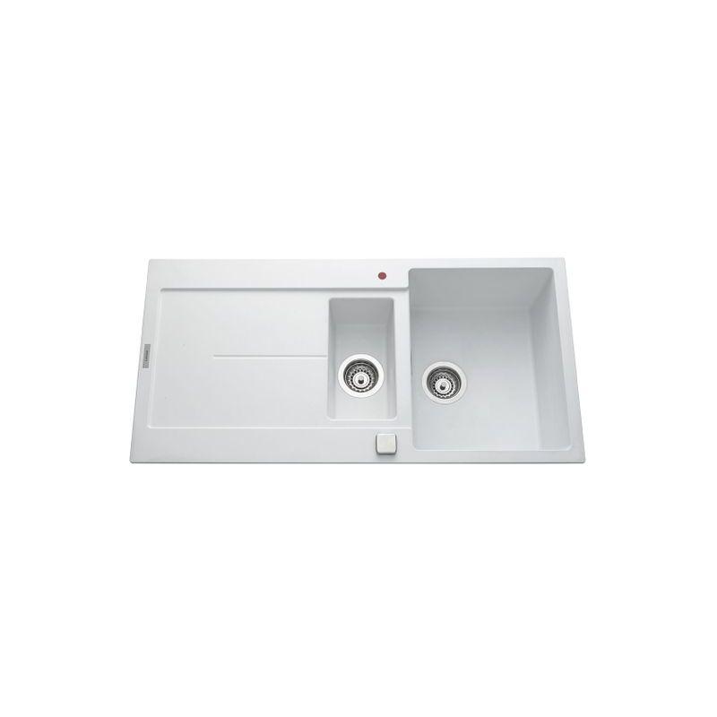 Évier granit blanc TAM TAM 1 bac 1/2 - 1 égouttoir - Luisina