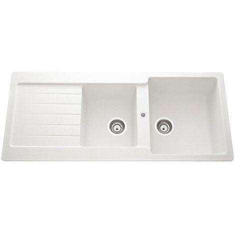 Évier granit blanc Schock LEDIS 2 bacs 1 égouttoir