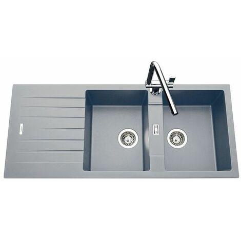 vier granit gris albey 2 bacs 1 gouttoir. Black Bedroom Furniture Sets. Home Design Ideas