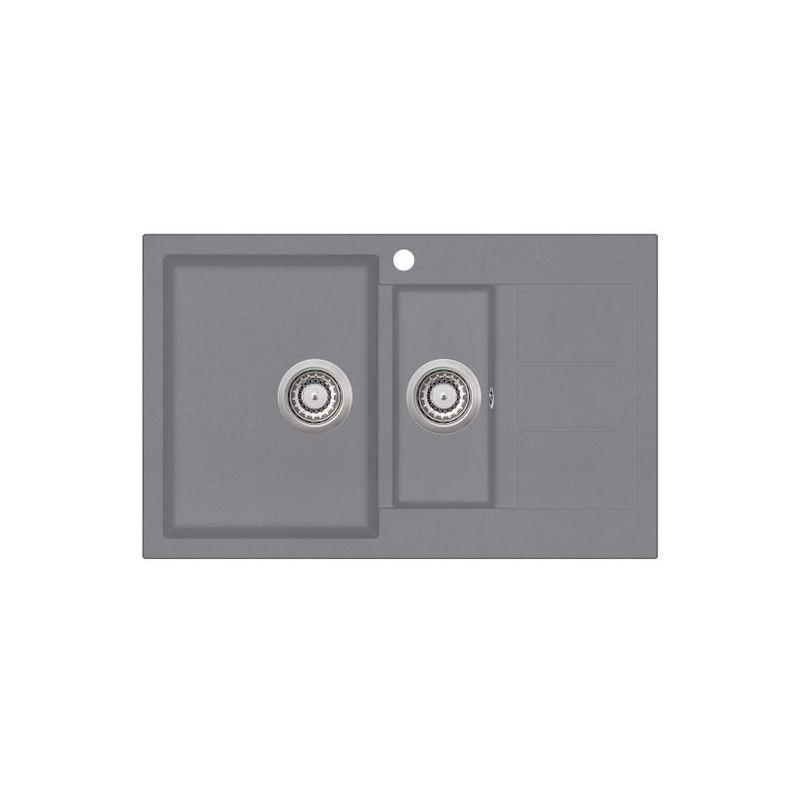 Evier granit gris TESIS 1 bac 1/2 bac - 1 petit égouttoir - Aquasanita