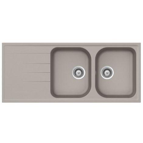 Évier granit gris béton Schock VIOLA 2 bacs 1 égouttoir