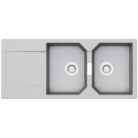 Évier granit gris clair Schock MANHATTAN 2 bacs 1 égouttoir