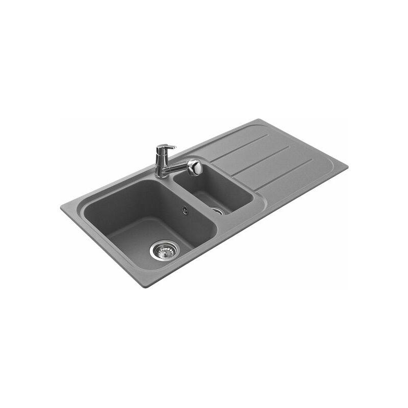 Évier granit gris OGLIO 1 bac 1/2 1 égouttoir - EWI