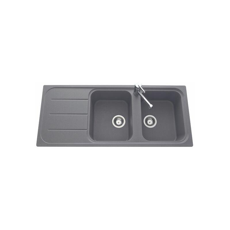 Évier granit gris OGLIO 2 bacs 1 égouttoir - EWI