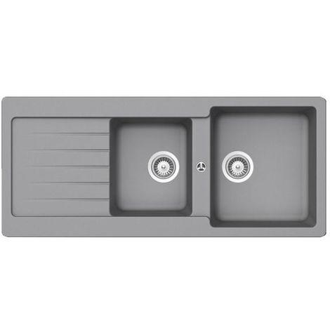 Évier granit gris Schock LEDIS 2 bacs 1 égouttoir
