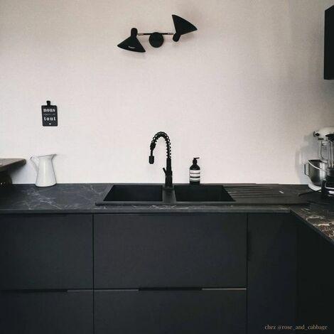 Évier granit noir ALBEY 2 bacs 1 égouttoir