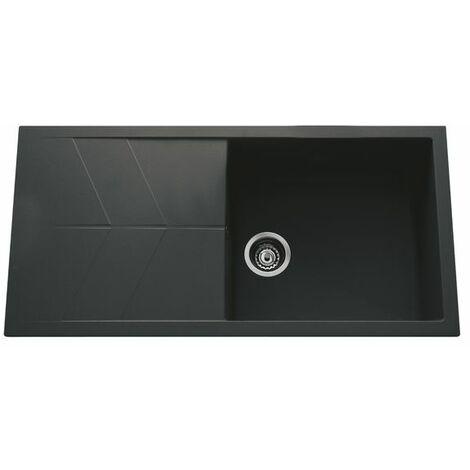 Évier granit noir Ewi NOVA 1 grand bac 1 égouttoir