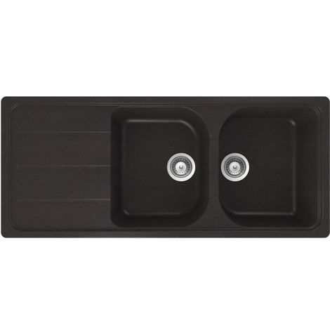 Évier granit noir Schock FORMHAUS 2 bacs 1 égouttoir