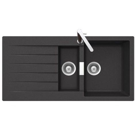 Évier granit noir Schock LOKTI 1 bac 1/2 - 1 égouttoir