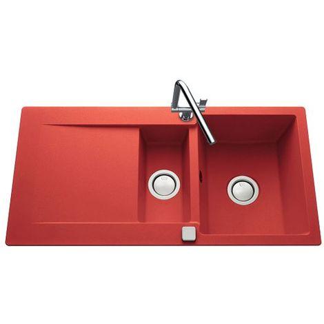 Évier granit rouge Luisina EPURE 1 bac 1/2 - 1 égouttoir