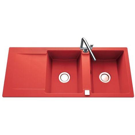 Évier granit rouge Luisina EPURE 2 bacs 1 égouttoir