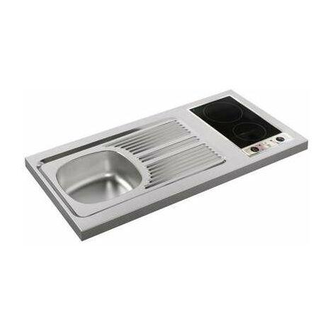 Évier inox à poser 1 bac et 1 égouttoir avec domino vitrocéramique 1200 x 600 mm - Moderna