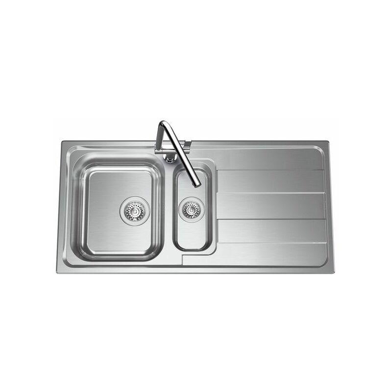 Évier inox lisse FUNK 1 bac 1/2 - 1 égouttoir - Luisina