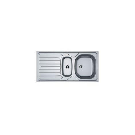 Evier inox lisse REN 651 - 90x102 - 1000x500mm - Réversible - Vidage manuel avec trop plein - 2 percages pour robinetterie