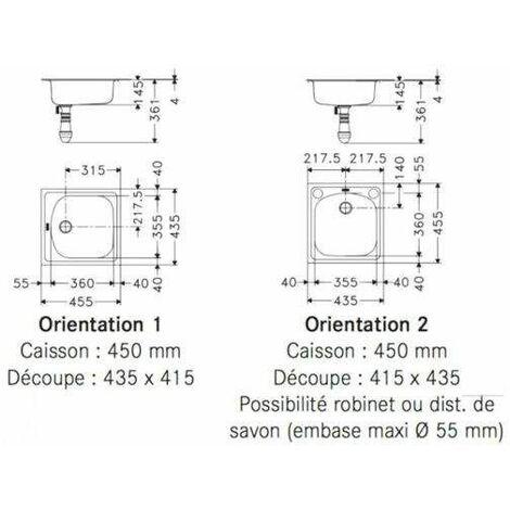Évier inox une cuve carrée 455x435mm - ETX610