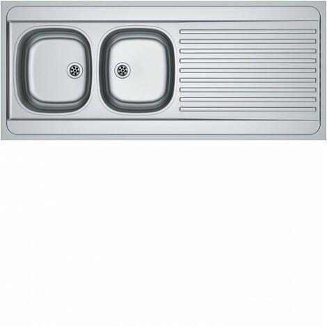 Evier Man à poser - 2 cuves 1 égouttoir - Inox lisse Franke 140x60 inox - 2c1e