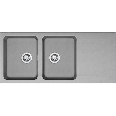 Franke Orion OID 621 - Evier de cuisine 2 bacs avec égouttoir, en Tectonite®, Gris (114.0383.649)