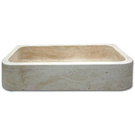 Evier pierre 1 bac Bords Ronds Travertin Beige 90x48x18 cm