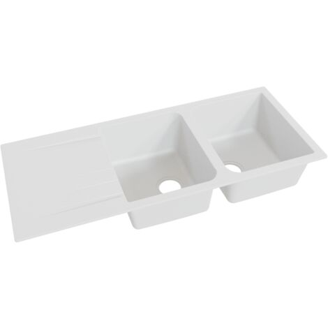 Évier RESIROC avec 2 bacs + égouttoir 118cm - blanc