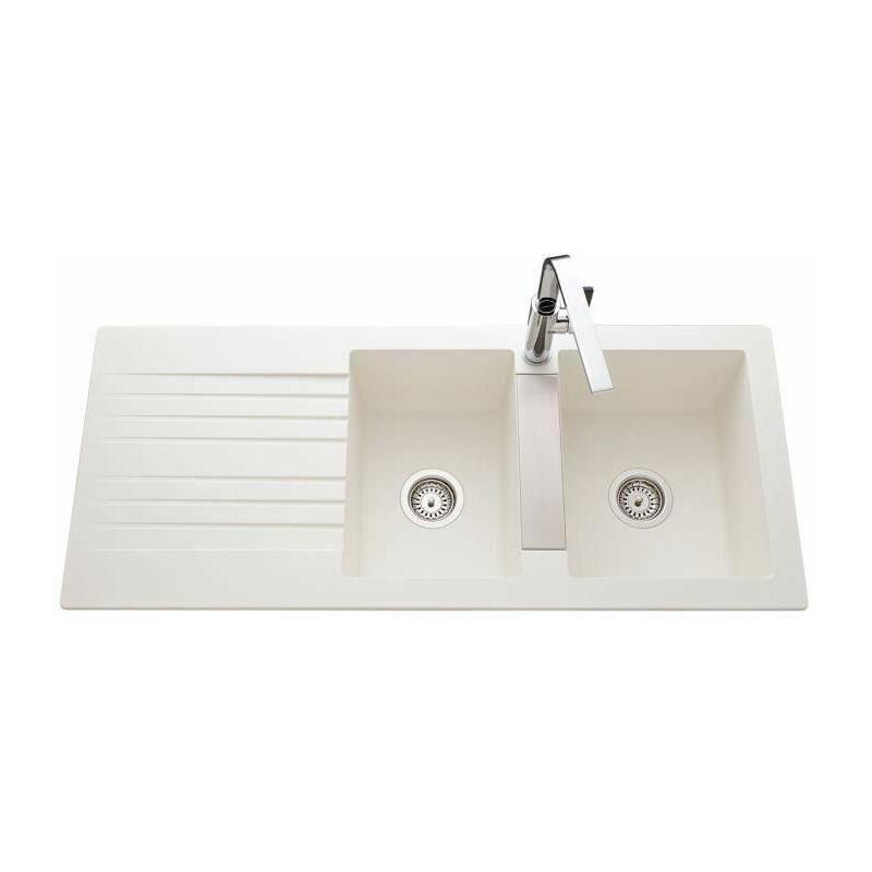 Evier Soledad 116x50cm 2 bacs 1 égouttoir blanc - EWI