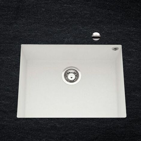 Évier sous plan granit blanc Luisina QUADRILLE 1 bac 540x440