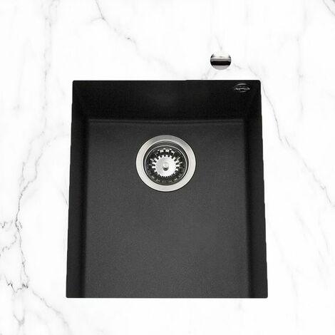 Évier sous plan granit noir moucheté Luisina QUADRILLE 1 bac 380x440