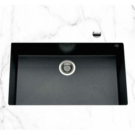 Évier sous plan granit noir moucheté Luisina QUADRILLE 1 bac 760x440