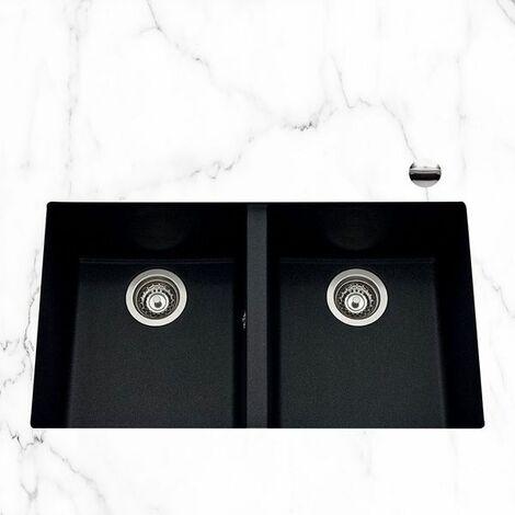 vier sous plan granit noir mouchet urbia 2 bacs. Black Bedroom Furniture Sets. Home Design Ideas
