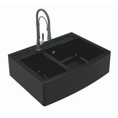 Évier timbre d'office granit noir DILMO 2 bacs