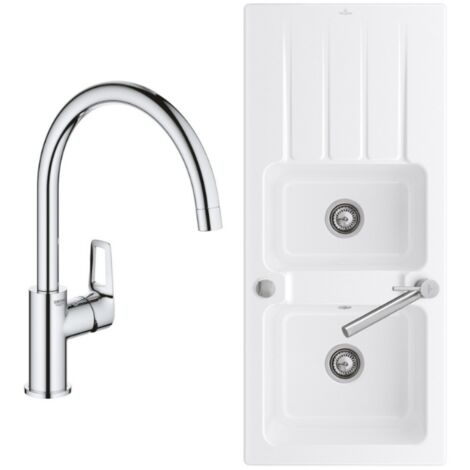 """main image of """"Evier Villeroy et Boch Architectura 80 116 x 51 cm Blanc + Robinet cuisine Grohe Bauloop"""""""