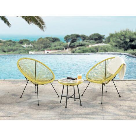 Evre Goa Acapulco Styled Garden Furniture Set Bistro Patio Indoor Outdoor Natural
