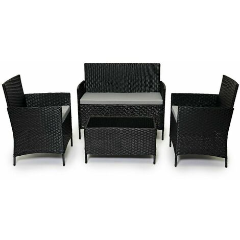 Evre Outdoor Garden Rattan Furniture 4 Piece set Chairs Sofa Table Patio Conservatory - Black