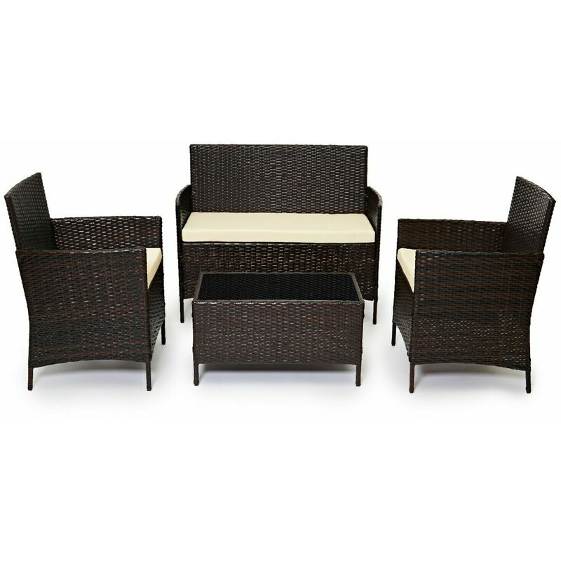 Evre Outdoor Garden Rattan Furniture 4 Piece Set Chairs Sofa Table Patio Madrid Brown Brown Madrid
