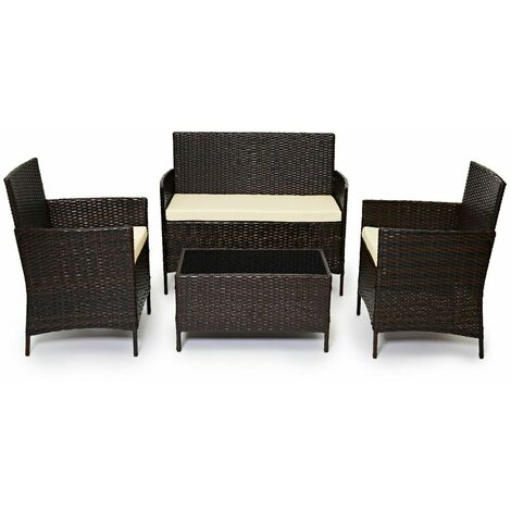 Evre Outdoor Garden Rattan Furniture 4 Piece set Chairs Sofa Table Patio Madrid Brown