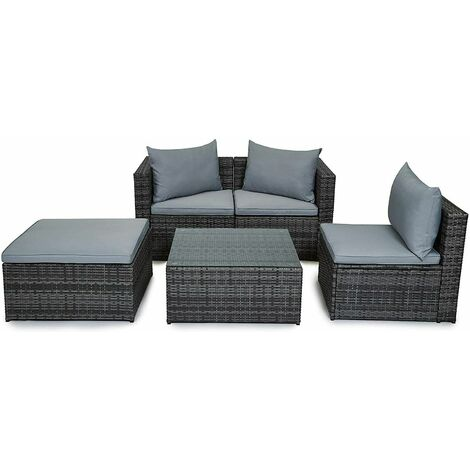 Evre Outdoor Rattan Garden Furniture Set Malaga Conservatory Patio Sofa coffee table Grey
